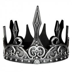 Sølv & sort kongekrone - Fleksibel & justerbar - Great Pretenders