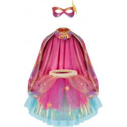 Regnbue Superhelt - Nederdel, kappe & maske - Great Pretenders
