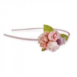 Roser & perler hårbånd - Støvet rosa & lilla - Great Pretenders