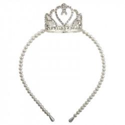 Krone med sten og perler hårbøjle - Great Pretenders