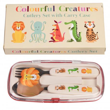 Søde dyr børnebestik - Ske & gaffel i opbevaringsæske - Rex London