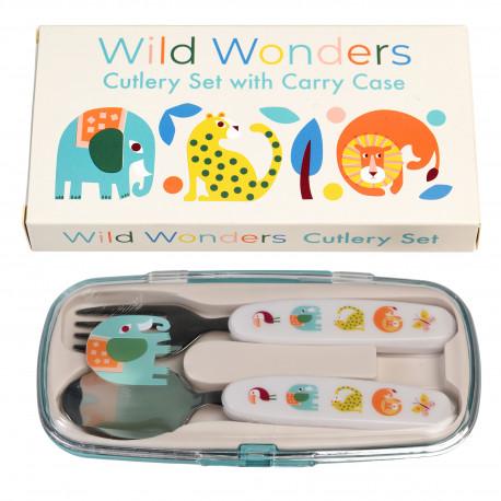 Wild Wonders børnebestik - Ske & gaffel i opbevaringsæske - Rex London