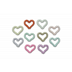 Metallic Hearts - 2 spiral hårelastikker - Ass. farver - Minista