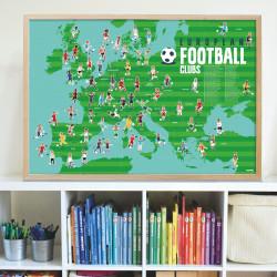 Fodbold - Panorama plakat med 62 stickers - Poppik