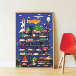 Biler, både & fly - Panorama plakat med 44 stickers - Poppik