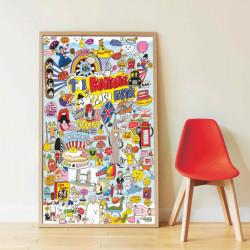 Cool Cartoons - Panorama plakat med 85 stickers - Poppik