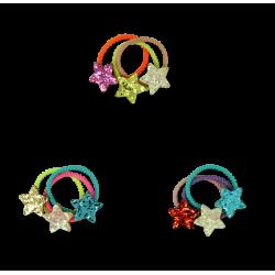 Glimmer stjerne - 3 stk. små hårelastikker - Ass. farver - Minista