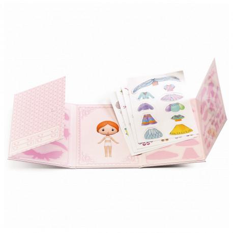 Miss Lilyruby påklædningsdukke & genanvendelige stickers - Djeco