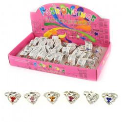 1 stk. Hjerte børnering med juveler - Assorterede farver
