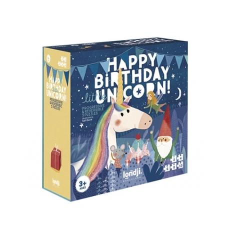 Happy Birthday Unicorn - 5  stk. vendbare puslespil - Londji