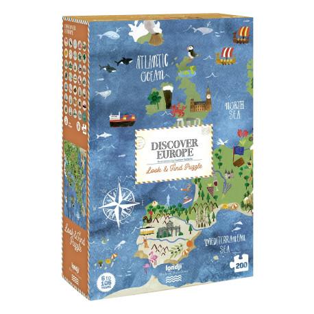 Discover Europe - Se & find puslespil - 200 brikker - Londji