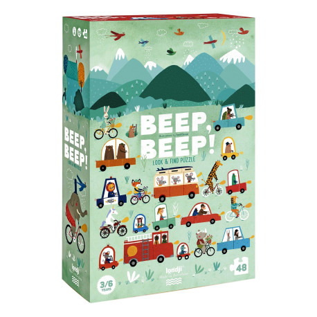 Beep, Beep! - Se & find puslespil - 48 brikker - Londji