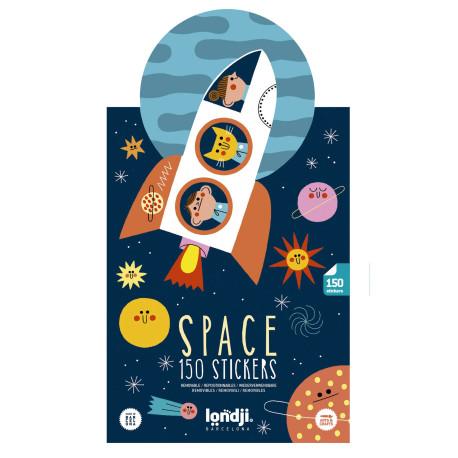 Space - 150 genanvendelige klistermærker & 2 baggrunde - Londji