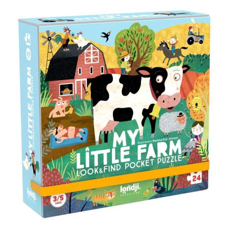 Farm - Se & find puslespil med 16 findebrikker - 24 brikker - Londji