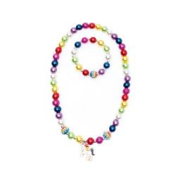 Enhjørning halskæde & armbånd med store perler - Great Pretenders