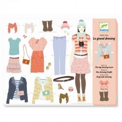 3 stk. påklædningsdukker med tilbehør - Djeco