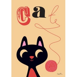 Ingela P. Arrhenius plakat - Cat with Yarn