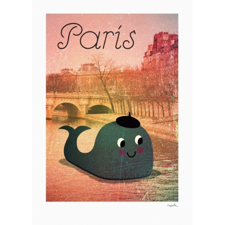 Whale in Paris plakat - Ingela P. Arrhenius