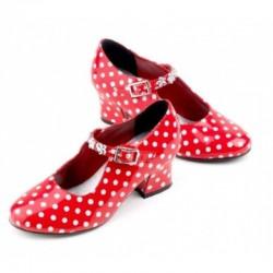 Isabella flamingo sko - Rød med hvide prikker