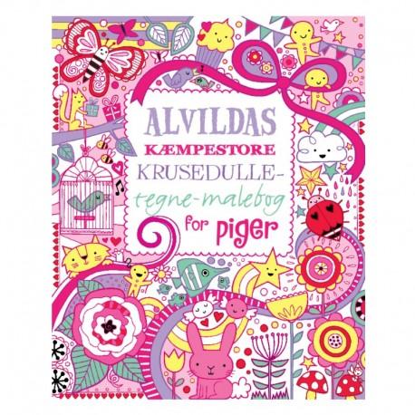 Alvildas Kæmpestore krusedulle-tegne-malebog for piger