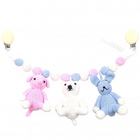 Elefant-isbjørn-kanin - Barnevognsophæng - NatureZOO