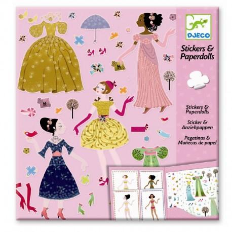 Djeco påklædningsdukker & stickers - Kjoler til de fire årstider