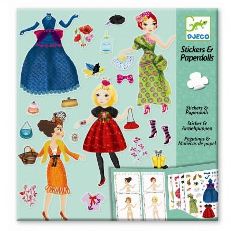 Djeco påklædningsdukker & stickers - Højeste mode