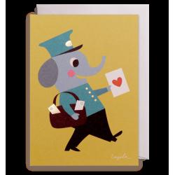 Elefant postbud kort - Ingela P. Arrhenius