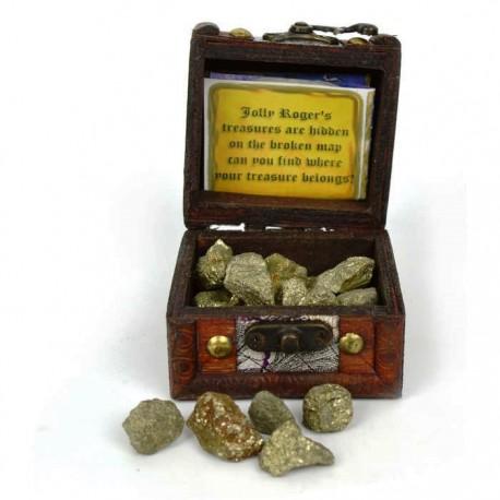 Skattekiste med guld, stofpose og kort